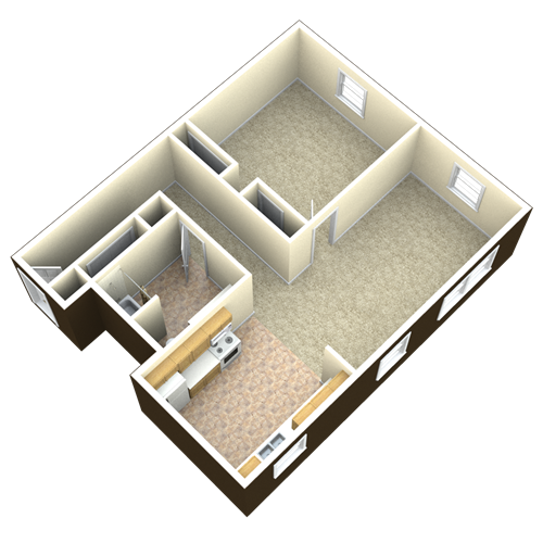 1 Bedroom 1 Bath 3D Layout