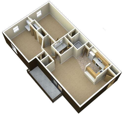 3D floor plan for 2 Bedroom 1 Bath Apartment GVSU
